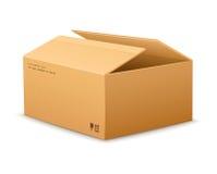 Otwarcia kartonowy doręczeniowy pakuje pudełko Obraz Stock