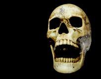 Otwarcia usta ludzkiej czaszki dwoisty ujawnienie z księżyc powierzchnią Zdjęcia Royalty Free