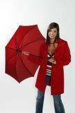 otwarcie kobieta czerwona parasolowa Obrazy Stock