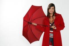 otwarcie kobieta czerwona parasolowa Obraz Royalty Free