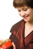 otwarcie skrzyniowe niespodzianką młode kobiety Zdjęcia Stock