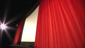 Otwarcie zasłona w nowożytnym kinie - perspektywiczny widok w kinie zbiory
