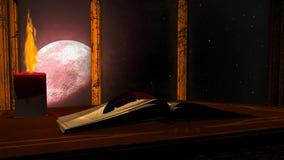 Otwarta antyk książka i płonąca świeczka na czerwonym księżyc tle ilustracji