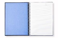 otwarta błękitny książkowa notatka Fotografia Royalty Free