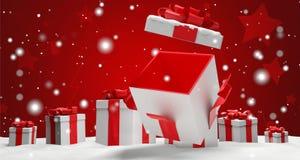 Otwarta boże narodzenie niespodzianka teraźniejsza z śnieżną 3d ilustracją ilustracji