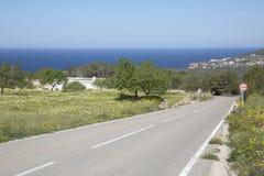 Otwarta droga blisko Hort plaży; Ibiza Fotografia Stock