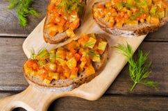 Otwarta kanapka z warzywami Zdjęcie Royalty Free