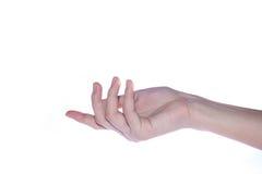 Otwarta kobiety ręka na białym tle Zdjęcia Stock