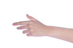 Otwarta kobiety ręka na białym tle Zdjęcie Stock