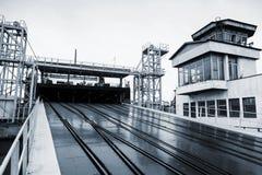 Otwarta Kolejowa rampa dla Ro statków, błękit tonujący Zdjęcie Royalty Free