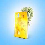 Otwarta kredytowa karta z dolarowymi rachunkami, Fotografia Royalty Free