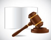 Otwarta książka i prawo młota ilustracyjny projekt ilustracja wektor