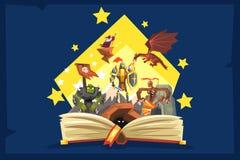 Otwarta książka z legendą, czarodziejska ogon fantazi książka z rycerzami, smok, czarownik, wyobraźni pojęcie ilustracji
