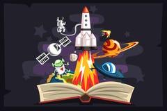 Otwarta książka z rakietą, astronauta, planetami, gwiazdami, UFO astronautycznym statkiem inside i obcym, wyobraźni pojęcie ilustracja wektor