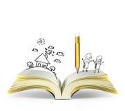otwarta książkowa magia ilustracji