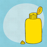 Otwarta musztardy butelka Zdjęcie Royalty Free