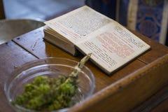 Otwarta Ortodoksalna Chrześcijańska biblia i bukiet ` bodziszka ` zdjęcie royalty free