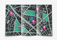 Otwarta papierowa miasto mapa Obrazy Stock