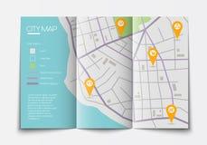 Otwarta papierowa miasto mapa Zdjęcia Royalty Free
