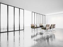 Otwarta przestrzeń pokój konferencyjny z panoramicznymi okno 3d Fotografia Stock