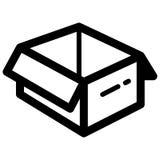 Otwarta Pudełkowata ikona projekta wektoru ilustracja Obrazy Stock