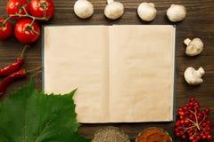 Otwarta rocznik książka z jagodami, pomidorami, Chile pieprzami, pikantność i gronowym liściem na drewnianym tle, zdrowe jedzenie zdjęcia stock