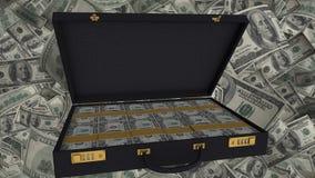 Otwarta teczka pełno dolarów amerykańskich rachunki, korupcja i łapówkarstwo, pieniężny przestępstwo Fotografia Stock