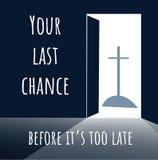 Otwarte drzwi - Chrystus - tło z tekstem Twój ostatni chanc ilustracji