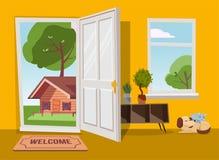 Otwarte drzwi w lato kraju krajobrazu widok z zielonymi drzewami P?aska kresk?wki ilustracja Drzewa z round koroną pod niebieskim ilustracja wektor