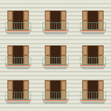 Otwarte Drzwi Z Balkonowym rocznika stylem Zdjęcie Royalty Free