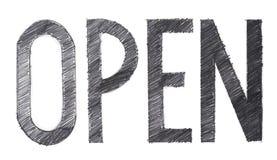 Otwartego jedno słowo ołówkowy uderzenie rysujący ścinek ścieżki Zdjęcie Royalty Free