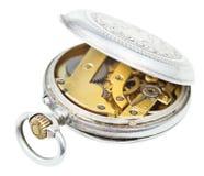 Otwartego rocznika srebra kieszeniowy zegarek odizolowywający na bielu Zdjęcie Stock