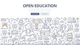 Otwarty edukaci Doodle pojęcie ilustracja wektor