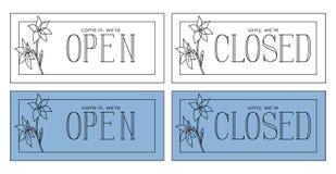 Otwarty i zamknięty talerz Minimalistic style_linear ilustracja ilustracji