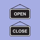Otwarty i Zamknięty znak deski obwieszenie przygotowywa ikonę Obraz Royalty Free