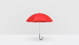 Otwarty klasyczny czerwony parasol z rękojeścią pionowo umieszczającą na białym tle Zdjęcia Royalty Free