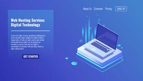 Otwarty laptop, pojęcie web hosting usługa, informatyki isometric wektorowa ilustracja 3d royalty ilustracja