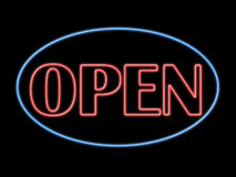 otwarty neon słowo Fotografia Royalty Free