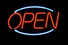 otwarty neon znak Zdjęcia Royalty Free