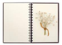 otwarty notatnik komponuje z kwiatem z ścinek ścieżką obraz royalty free