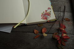 Otwarty Notepad z jesień majcherem odpoczywa na drewnianym tle Zdjęcie Stock