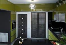 Otwarty pojęcie Hall i Ścisła kuchnia, 3D Odpłacamy się Fotografia Stock
