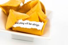 Otwarty pomyślności ciastko - EVERYTHING BĘDZIE DOBRZE Zdjęcie Royalty Free
