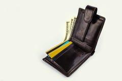 Otwarty portfel z dolarami, złoto karta Zdjęcia Royalty Free