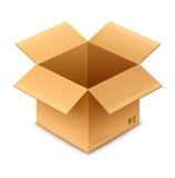 Otwarty pudełkowaty kartonowy pakunek Zdjęcia Royalty Free