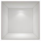 Otwarty pusty pudełkowaty pokój z punktu światłem odizolowywającym na białym tle Fotografia Stock