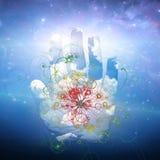 Otwarty ręki i cząsteczki projekt Fotografia Royalty Free