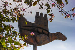 OTWARTY ręka zabytek, CHANDIGARH, INDIA Zdjęcia Royalty Free