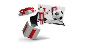 Otwarty teraźniejszości pudełko z produktami 3d-illustration ilustracja wektor
