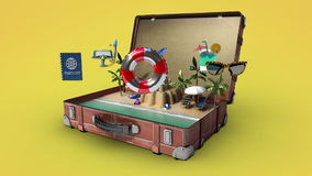 Otwierał rocznik podróżną torbę, Przygotowywa podróżować dla wakacje, bagażnik, wycieczka turysyczna 3 zdjęcie wideo